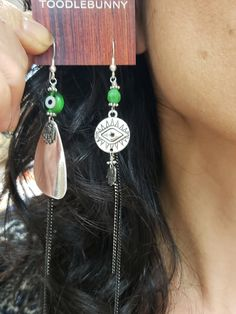 Asymmetric Evil Eye Earrings - Silvertone – TOODLEBUNNY