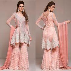 Latest Peplum Tops Designs And Short Frocks Collection Pakistani Engagement Dresses, Pakistani Wedding Outfits, Pakistani Dresses, Pakistani Sharara, Indian Fashion Dresses, Indian Outfits, Gharara Designs, Short Frocks, Pakistani Dress Design