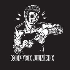 Death Before Decaf, Cuppa Joe, Coffee Tattoos, Creepy Art, Black And White Drawing, Coffee Design, Badass Quotes, Home Pictures, Black Wallpaper