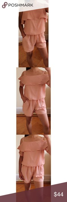 """🆕 Angelina Chiffon Romper This is my favorite compared to my other new arrivals tonight! Very airy, roomy, & so comfortable! Perfect look to have brunch with friends, lunch date, or even to the beach! Features an elastic waistband, an open button on the back, one layer of ruffles, & pockets on each side.                                             ◈Modeling Size Small  ◈Measurements Length 24"""" Inseam 3"""" Pit to Pit 16"""" ◈1"""" difference between sizes Other"""