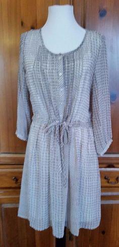 Banana Republic  Shirt dress Snake brown sheer lined 3/4 Sleeve Size 6 NWT  #BananaRepublic #ShirtDress #Casual
