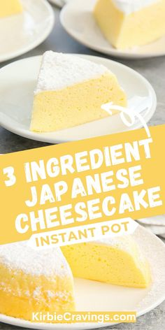 Three ingredient Japanese cheesecake is made even easier in the Instant Pot. The result is a light, fluffy, cotton-soft Japanese style cheesecake made in much less time. Party Recipes, Drink Recipes, Summer Recipes, Baking Recipes, Japanese Jiggly Cheesecake Recipe, Japanese Cheesecake, White Chocolate Desserts, Best Pressure Cooker Recipes, Three Ingredient Recipes
