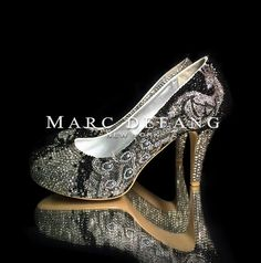 Black & White Peacock feather crystal luxury bridal wedding shoes, heels, Prom, Shoes