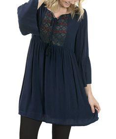 Look at this #zulilyfind! Navy Embroidered Bell-Sleeve Peasant Dress #zulilyfinds