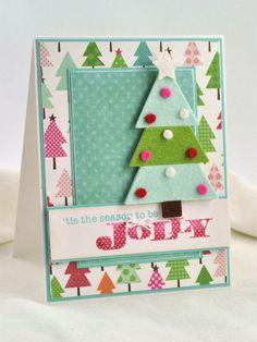 carte de vœux Noël à fabriquer avec sapins en feutrine bleu-vert