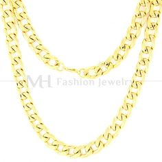 Mens Chain Gold Silver Tone CABLE Necklaces Stainless Steel Link Chain 9mm  22