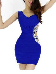 Blue Sexy Short Above Knee Sleeveless Clubwear Evening Cocktail Party Dress