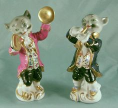 Pair Musical Instrument Cymbals Clarinet Playing Feline Cat Musician Figurines | eBay