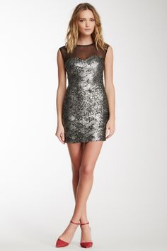Stella & Jamie Formosa Silk Blend Sequin Mini Dress