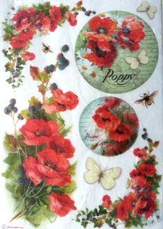 Rice Decoupage Paper, Decoupage Sheets, Scrapbooking, Decopatch, Poppys