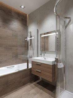 26 Ideas bathroom design wood tile tubs for 2019 Wood Tile Shower, Wood Bathroom, Small Bathroom, Tub Tile, Bathroom Ideas, Shower Tub, Master Bathroom, Wood Tub, Serene Bathroom
