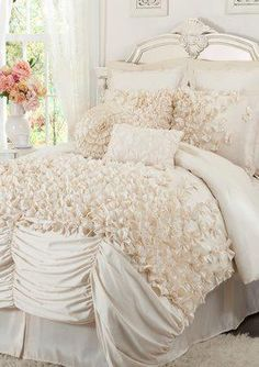 ruffled bedspread,,,,,that's too many ruffles said No One Ever :)