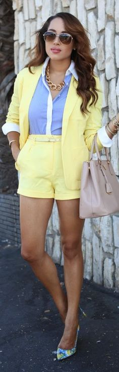 Missguided Yellow Women's Easy Colorblock Short And Top Suit
