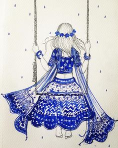 The little princess on the swing by Mona Biswarupa, fashion illustrator,artist ,Dubai Doodle Art Drawing, Cool Art Drawings, Mandala Drawing, Art Drawings Sketches, Mandala Art, Madhubani Art, Madhubani Painting, Abstract Pencil Drawings, Doddle Art