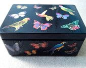 Butterfly and Parrot decoupage box.