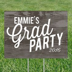 Weathered Wood Look Yard Sign Graduation Party Decorations