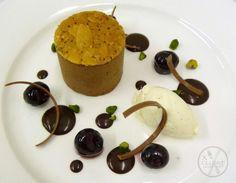 Chocolate and Almond Mousse, Kirsch Cherries #catering #events #leicestershirefood #xclusive