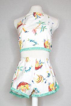 SARAH SET - FRUIT PUNCH Fruit Print, Fruit Punch, Halter Crop Top, Teal Colors, Lace Trim, Rompers, Dreams, Fashion Outfits, Crop Tops
