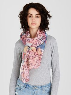 Feather and Animal Print Scarf Mid Pink