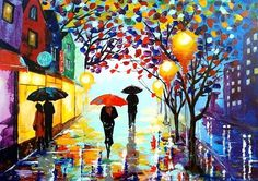 Original Abstract Painting Acrylic - A Couple With Umbrella - Forest Rain Landscape - Colorful Abstract Palette Knife - Ready To Hang- - Night street -Acrylic Contemporary Art - Cityscape Urban landscape Night Painting Size: 42 x 30 cm (16.5 x 11.8) For additional sizes, please contact