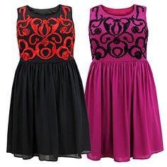 Awesome Curvylicious Women's Plus Size Sleeveless Ribbon Trim Scoop Neck Skater Dress