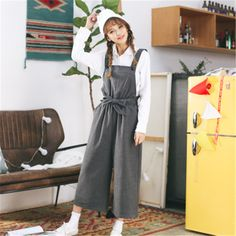 2017 New Harajuku Rompers Womens Corduroy Bow Knots Jumpsuit Casual Bodysuit Loose Pants Pockets Ladies Blue Overalls Pants004