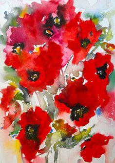 "Saatchi Art Artist Karin Johannesson; Painting, ""Poppies en masse IV (sold)"" #art"