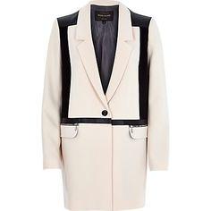 Cream contrast panel longline jacket £65 #riverisland