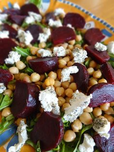 Roasted Beet Salad with Goat Cheese & Chickpeas - I changed the dressing by adding a splash of lemon juice and a bit of agave to sweeten. I also used broccoli, avocado, and pine nuts in the salad. I would take out the goat cheese too. Beet Recipes, Veggie Recipes, Vegetarian Recipes, Cooking Recipes, Healthy Recipes, Vegan Meals, Smoothie Recipes, Healthy Salads, Healthy Vegetarian Recipes