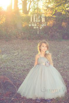 Grey Flower Girl Tutu Dress with Flower Sash by littledreamersinc, $80.00