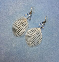 Silver pheasant feather earrings adorned with by FeatheredJewels