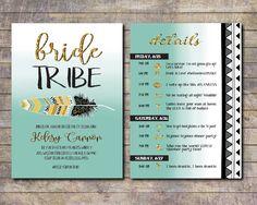 Bride Tribe, Bachelorette Party Invite, Tribal Bachelorette, Itinerary Bachelorette, Pink bachelorette invite, Vegas, Nashville bach by AWickedWhim on Etsy