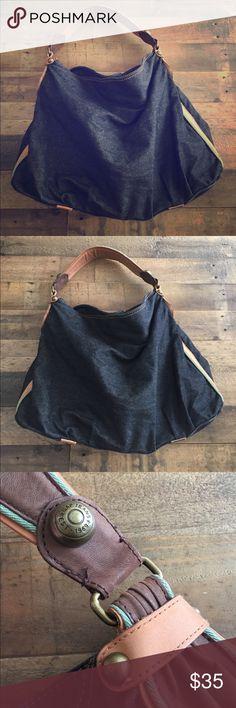 Gap Vintage Retro Denim Leather Hobo Purse Gently Preloved GAP Bags Hobos
