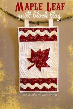 Happy Canada Day ( July In honor of the day, here are some free Canadian maple leaf quilt and table runner patterns! Small Quilts, Mini Quilts, Quilt Block Patterns, Quilt Blocks, Free Paper Piecing Patterns, Animal Crossing, Canadian Quilts, Quilts Canada, American Flag Quilt