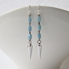 Blue Spike Dangle Earrings Eco-Friendly by Perini by PeriniDesigns