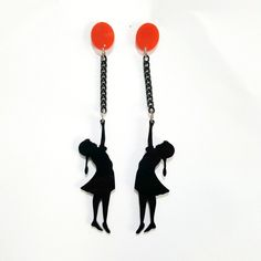 Laser cut acrylic cute Inspired Girl with Red Balloon Earrings