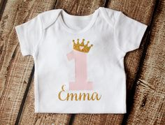 First Birthday Outfit Birthday Outfit First Birthday Girl Outfit Personalized Girls Gold Pink Princess Shirt BODYSUIT ONLY First Birthday Outfit Girl Birthday door pinkblossomdesignco Glitter First Birthday, First Birthday Outfit Girl, 1st Birthday Shirts, Bday Girl, Birthday Door, 2nd Birthday, Birthday Ideas, Pink Princess, Princess Birthday