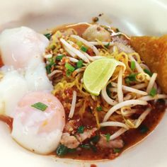 Spicy Tom-yam egg noodles with boiled eggs~ Real Authentic Thai food..Yum~
