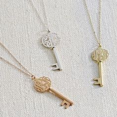 Monogram Key Necklace. Want this with my daughter's initials, because only she holds the key to my heart.