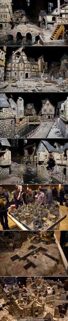 - a grouped images picture Warhammer Terrain, 40k Terrain, Game Terrain, Wargaming Terrain, Stop Motion, Casa Estilo Tudor, 3d Modelle, Tiny World, Fantasy Miniatures