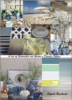 Stylish Beachside Blues with green/citron accents.  Fabrics are from the Schumacher range and the floral embroided Gaston y Daniela Fabric.