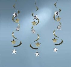 Gold & Silver Star Dizzy Danglers 3ct