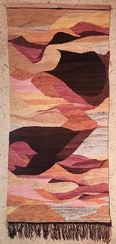 """Navajo Country by Joan Potter Loveless, handspun hand-dyed wool, 65"""" x 31"""", 1961"""