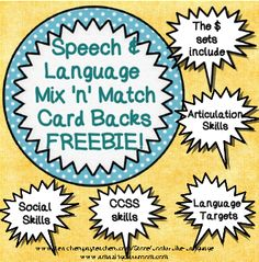 Freebie! Mix'n'Match Year Round Go-Together card backs to create your own game or use with my Speech and Language Mix'n'Match sets to meet your group needs all year long!