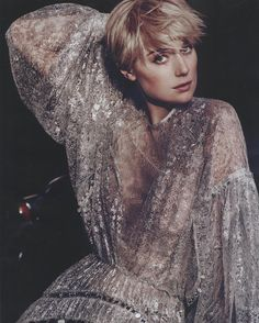 Elizabeth Debicki wears our Adorn Crystal Lace Dress from the Fall 16 Collection, Mirror Mirror in InStyle June Issue.