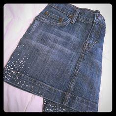 Embellished denim skirt Super cute denim skit with rhinestone embellishments. Jixi Denim Skirts Midi