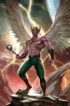 """""""Hawkman is a reverse Lucifer. Now before you get all upset about Hawkman being compared to Satan, hear me out. In the current series by we found out in issue No. 7 that Hawkman's first name was Ktar Deathbringer. Marvel Dc Comics, Dc Comics Art, Aquaman Dc Comics, Flash Comics, Comic Book Covers, Comic Books Art, Comic Art, Book Art, Desenhos Hanna Barbera"""