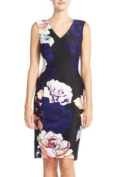 Bold floral that isn't romantic or cutesy. Adrianna Papell Floral Print Scuba Sheath Dress