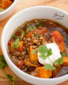 Lentil and Sweet Potato Stew - A great, easy to make, healthy vegan dinner that's made with ingredients I usually have in the house