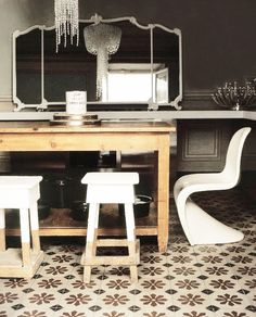 = old and new = white chairs, wood table and mirror